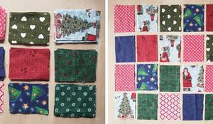 KROK III – Wycinanie tkaniny na woreczki i ustalanie układu kalendarza adwentowego